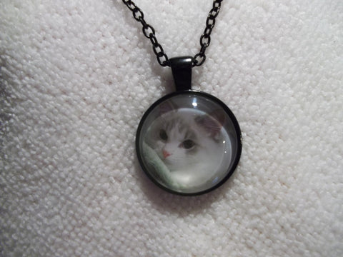 Black Bubble White/Gray Cat w/Green Blanket Necklace (N645)