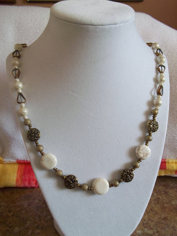 Antique White/Clear Bronze Trim Glass Bead Necklace (N652)
