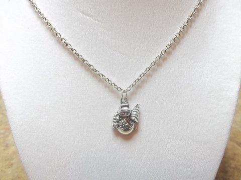 Silver Snowman w/Tree Necklace (N666)