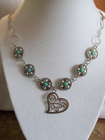Silver Ring Chain w/Metal Beads Turquoise Center Silver Heart Pendant Necklace (N668)
