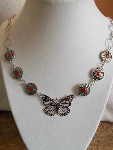 Silver Ring Chain w/Metal Beads Red Center Silver Butterfly Pendant Necklace (N669)