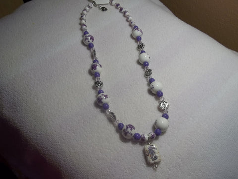 Silver Purple/White Glass Bead w/ glass Seahorse Necklace (N672)
