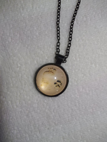 Black Bubble Footprint Dog Paw in sand Necklace (N690)