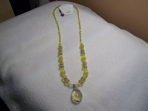Bronze Yellow Glass Beads and Crystals Bling Yellow Dried Flower Pendant Necklace (N693)