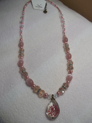 Pink Glass Beads and Crystals Bling Pink Dried Flower Pendant Necklace (N696)