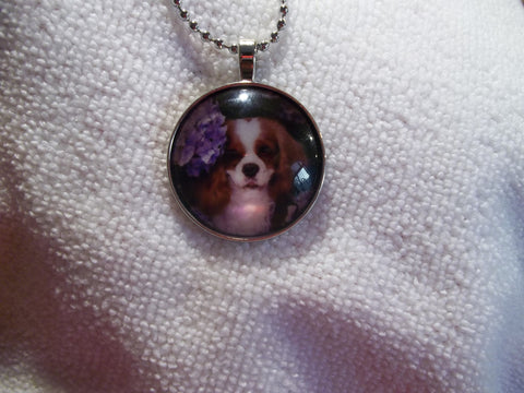 Silver Ball Chain Bubble Spaniel Dog Necklace (N701)