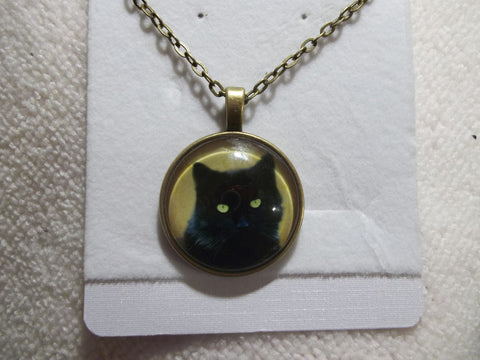 Bronze Bubble Black Cat Necklace (N706)