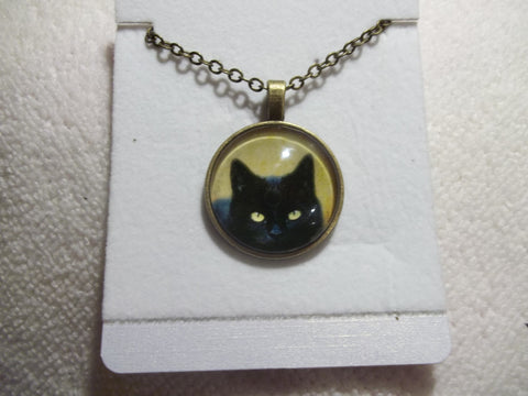 Bronze Bubble Black Cat Sneaking Necklace (N707)
