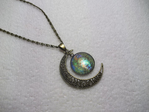 Bronze Bubble Multi Color Lion w/Moon Necklace (N711)