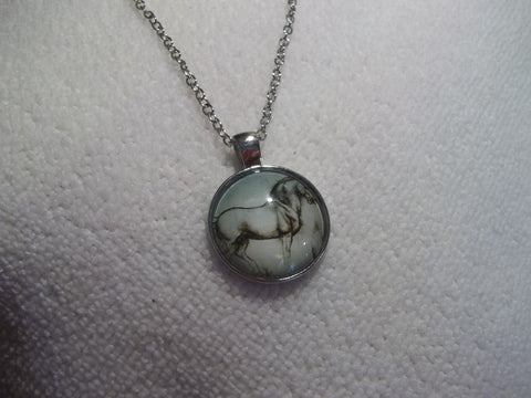 Silver Bubble Drawn Horse Necklace (N715)
