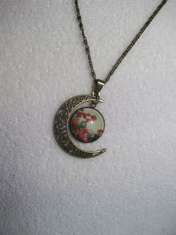 Bronze Moon Bubble Red Poppy Flower Necklace (N738)