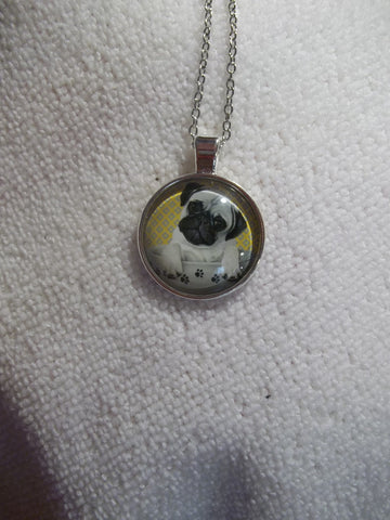 Silver Bubble Pug Puppy Necklace (N741)