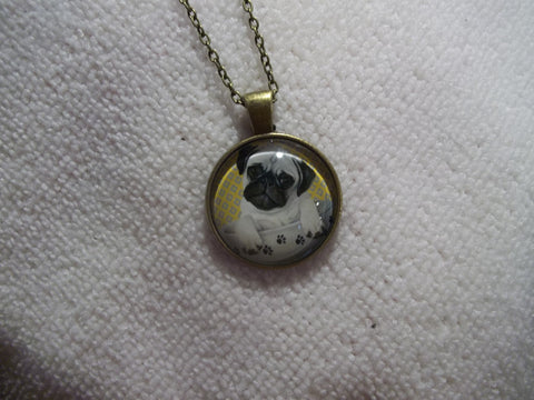 Bronze Bubble Pug Puppy Necklace (N742)