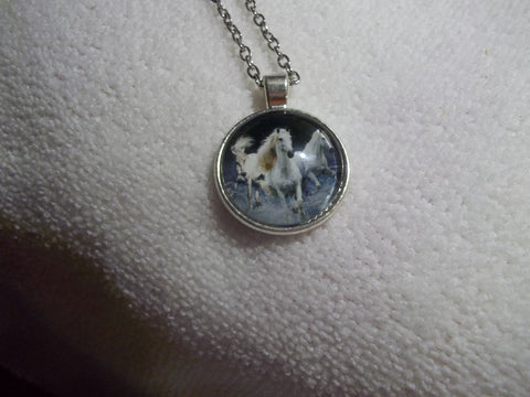 Silver Bubble White Horses Necklace (N748)