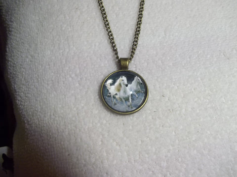 Bronze Bubble White Horses Necklace (N749)