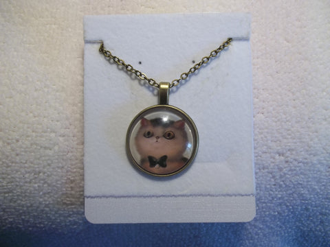 Bronze Bubble White Black Bow Kitty Necklace (N752)