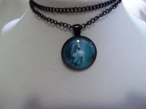 Black Bubble White Unicorn Necklace (N760)