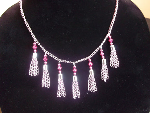 Pink Chain Tassel Necklace (N778)