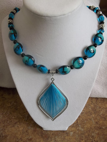 Blue Black Glass Beads w/Silver Blue Thread Pendant Necklace (N780)
