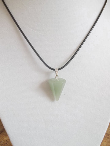 Black Leather Jade Green Cone Healing Crystal Necklace (N802)