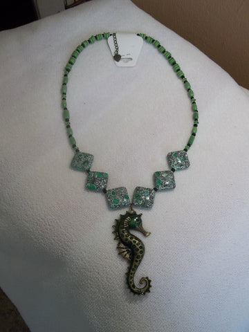 Bronze Green Seahorse Green Glass Bead Necklace (N814)