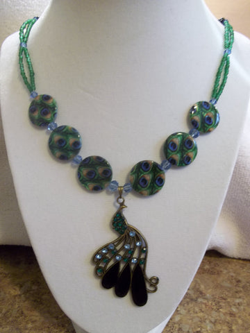 Bronze Green Blue Black Glass Bead Peacock Pendant Necklace (N817)