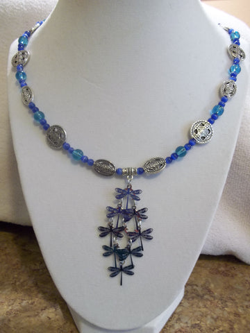 Silver Blue Glass Beads Blue Metal Dragonfly Pendant Necklace (N818)