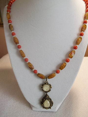 Bronze Cream Pendant Orange Cream Glass Bead Necklace (N823)