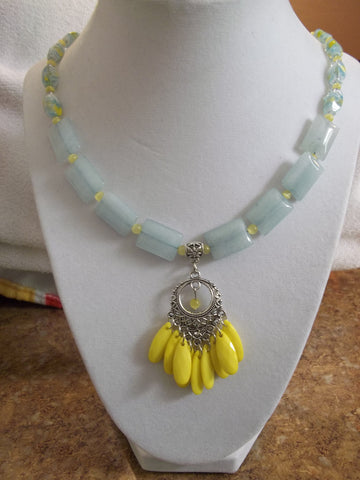 Silver Yellow Pendant Rectangle Blue Glass Beads Yellow Glass Beads Necklace (N825)