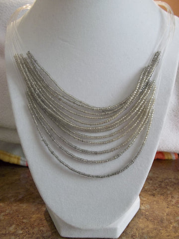 Gray Seed Bead Necklace (N827)