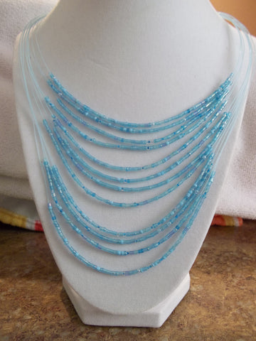 Blue Seed Bead Necklace (N828)