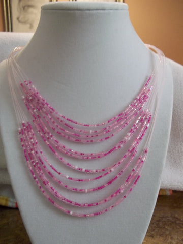 Pink Seed Bead Necklace (N829)