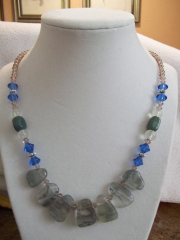 Light Purple Bi Cones Blue Bi Cones Green Clear Glass Beads Gray Stones Pendants Necklace (N839)