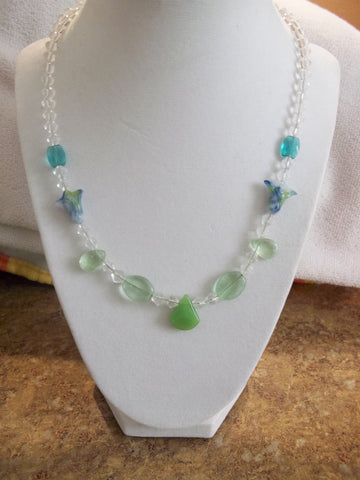 Clear Bi Cones Glass Green Beads Blue Glass Tulips Necklace (N843)