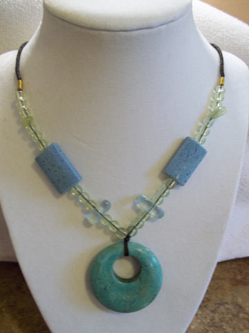 Brown Cord Turquoise Circle Stone Pendant Multi Color Stones and Beads Necklace (N861)