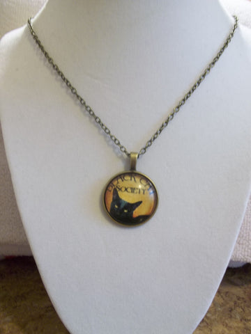 Bronze Bubble Black Cat Society Necklace (N868)