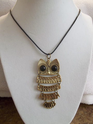 Black Leather Bronze Owl Necklace (N872)