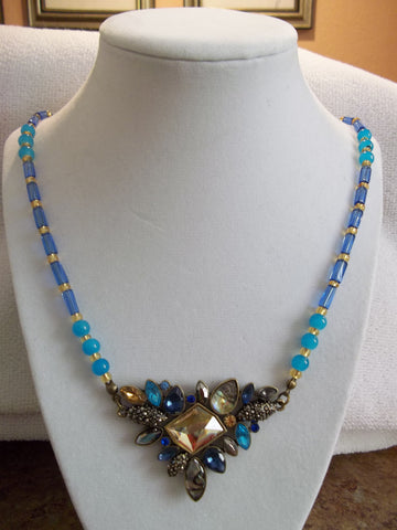 Bronze Multi Color Pendant Blue Gold Glass Beads Necklace (N875)