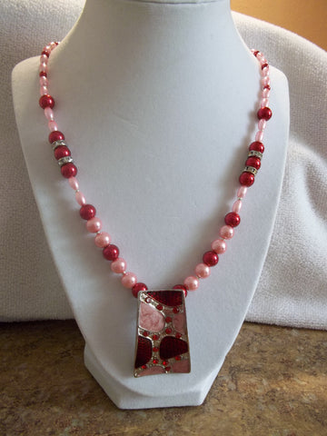 Red Pink Pearls Silver Rectangle Pendant Necklace (N897)