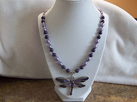 Light Dark Purple Pearls Silver Dragonfly Necklace (N898)