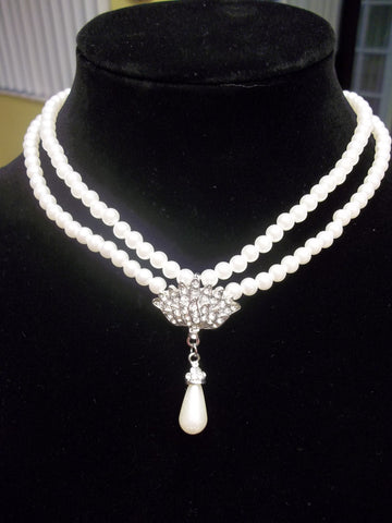 Double White Pearl Strands White Tear Drop Pearl Pendant Choker Necklace (N901)