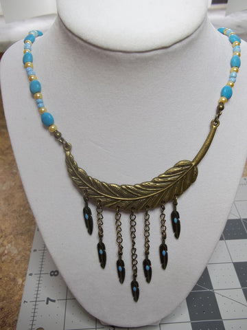 Blue Gold Glass Beads Bronze Feather Hanging Feathers Necklace (N904)