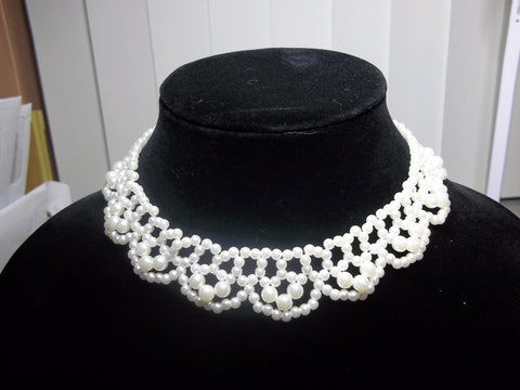 Scalloped Pearl Choker Necklace (N917)