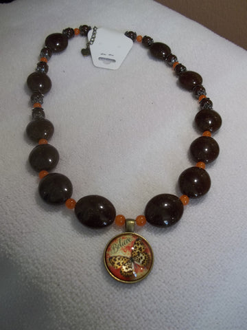 Brown Beads Orange Glass Beads Believe Butterfly Pendant Necklace (N933)