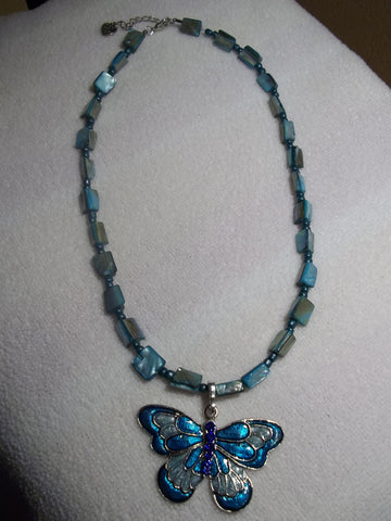 Light Blue Mother of Pearl Butterfly Necklace (N939)