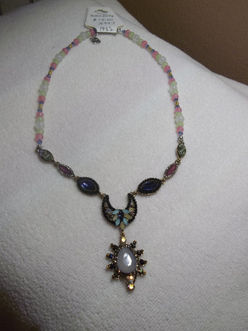Clear Pink Green Blue Gold Beads Multi Color Bling Pendant Necklace (N947)