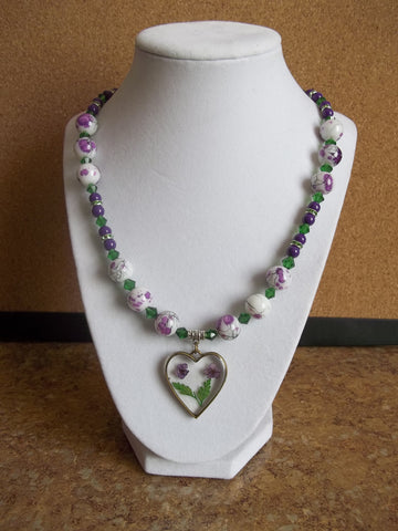 Purple Green Glass Beads Glass Heart Dried Flowers Necklace (N960)