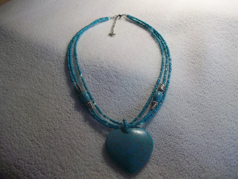 Turquoise Heart Pendant 3 Strand Seed Beads Silver Beads Necklace (N964)