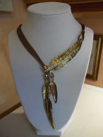 Brown Cord Gold Feathers Necklace (N967)