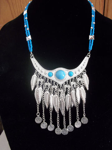 Silver Leaf Coin Blue Glass Beads Necklace (N968)